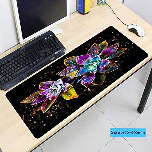 HonGHUAHUI bloemen-abstracte waterdruppels grote zachte rubberen antislipcomputer muismat rechthoekige tafelkleden 350X600X2MM
