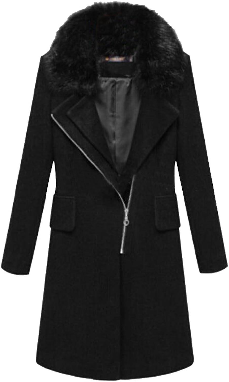 KLJRWomen Winter Thicken Faux Fur Collar WoolBlend Pea Coats