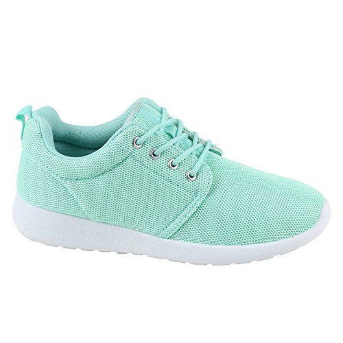 stiefelparadies Damen Sport Neon Lauf Runners Sneakers Fitness Schnürer Prints Blumen Übergrößen Schuhe 142276 Hellgrün 41 Flandell