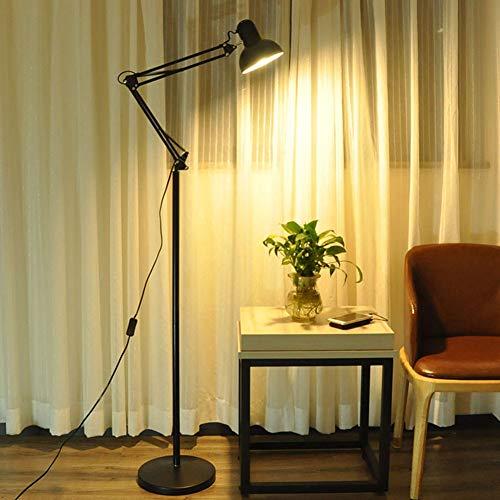 LaMP-XUE staande lamp met schommelstoel, verstelbare vloerlamp met uit-schakelaar, oogbescherming leren telescopisch vloerlicht met zware metalen basis voor de woonkamer