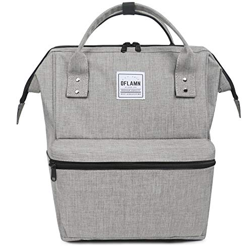 Oflamn Zaino Scuola Vintage per Uomo e Donna - Zaino Laptop per 14'/15.6' - Zaino da Viaggio in Tela - Leather Canvas School Backpack (grigio)