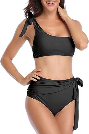 67324ec3e6 AdoreShe Women's Blue White Breezy Stripe Two Piece Swimsuit Bikini Set One  Shoulder Swimwear Bathing Suit