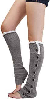 Lady's Fashion Lace Knee Knitted Flat Crochet Button Soft Leg Warmers