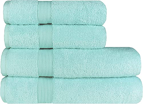 Albeny® Set di 4 asciugamani da bagno di lusso, 70 x 140 cm e 2 asciugamani da 50 x 100 cm, 100% cotone turco, morbidi e resistenti agli strappi, 600 g/mq, vetro blu