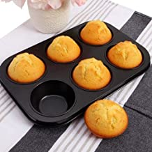 Rexez Cup Cake 6 Slot Aluminium Tray Muffin Bread Cake Non-Stick Bakeware Reusable Tray Pan Mould for Deserts, Pastries and Cookies Non-Stick (Multi Color)