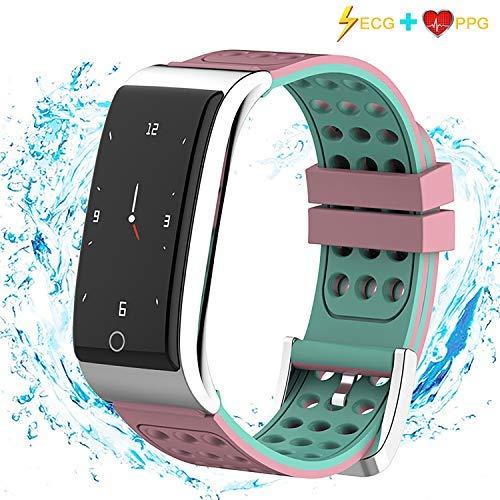 I-SWIM Fitness Tracker, ECG&PPG Heart Rate Monitor Watch Color Screen, IP67 Waterproof, Step Counter, Calorie Counter, Sleep Monitor, Pedometer, Smart Watch Kids Women Men (Pink)