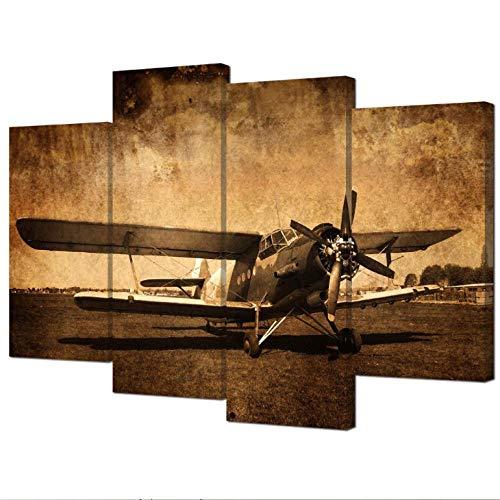 artaslf Impresiones en lienzo Arte de aviones antiguos Pinturas de cuadros de aviones antiguos Retro Aviación militar Avión de combate Decoración de la pared -30 * 60cm 30 * 80cm-sin marco-4 piezas