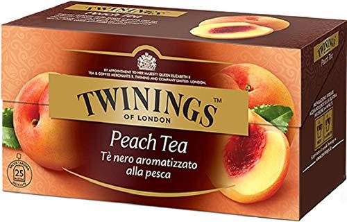 Twinings Aromatisierter Tee - Pfirsich - Erforschter Schwarzer Tee kombiniert mit dem delikaten Geschmack von Pfirsich - Frische und delikate Geschmacksmischung mit mittlerem Charakter (50 Beutel)