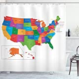 Ambesonne Wanderlust Shower Curtain, Colorful USA Map with States and Capital Cities Washington Florida Indiana Print, Cloth Fabric Bathroom Decor Set with Hooks, 75' Long, Multicolor