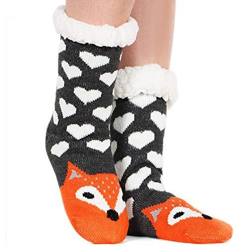 Tacobear Damen Kuschelsocken Haussocken Bettscoken Hüttensocken Wintersocken Warme Dicke Socken mit Antirutschsohle für Damen & Mädchen