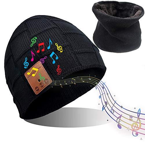 DreiWasser Bluetooth Mütze und Halswärmer Unisex, Beanie und Schal Strickmütze, Bluetooth Hut mit Bluetooth 5.0 für Outdoor-Sport Geschenke, Waschbar
