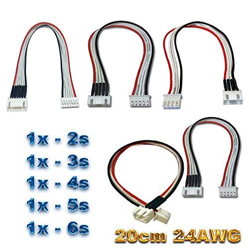 VUNIVERSUM 5X Stück JST-XH auf XH Premium Kabel Set 2S 3S 4S 5S 6S je 20cm 24AWG Balancerkabel Balancer Verlängerung Ladekabel Stecker auf Buchse Adapterkabel für Lipo Akku von Mr.Stecker Modellbau®