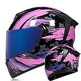 Casco Integral De Moto Estilo Retro, Casco Moto Integral DOT/ECE Homologado Casco De Moto Para Jóvenes Mujer Hombre Casco Moto Doble Visera Con Visera Transparente Y Coloreada Pink,S