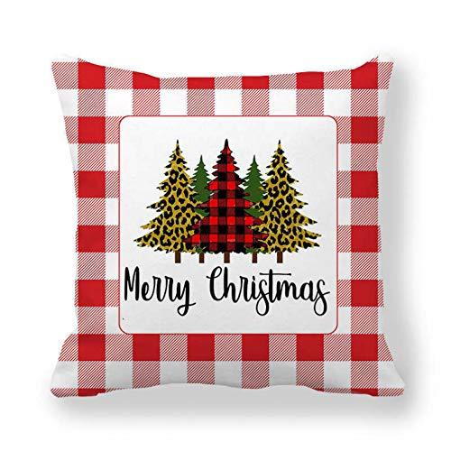 SUIBIAN Funda de Almohada de Navidad Funda de Almohada de celosía Funda de cojín de árbol de Navidad Funda de cojín Impresa Cojín de decoración de Navidad