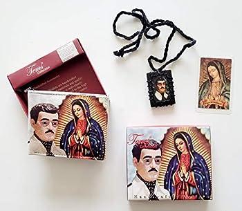 Cartera de Jesus Malverde y La Virgen de Guadalupe con Oracion de Bosillo y Escapulario de Madera