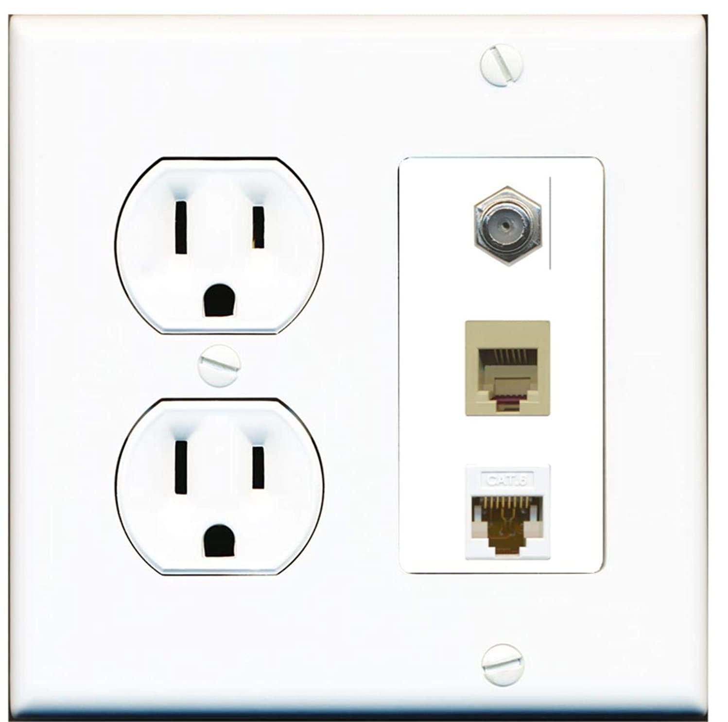 15 Amp Round Power Outlet 1 Port Coax Cable TV Phone RJ11-12 Cat6 Ethernet Wall Plate