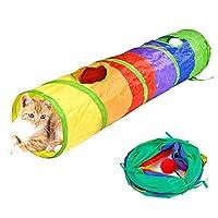 Pawstrip 猫トンネル 猫 おもちゃ キャット ネコ用品 水洗い可能 折りたたみ式 収納便利 2穴付き 長い 猫遊び ストレス発散 運動不足 対策 ペット玩具 ( 直径25CM 長さ120CM; 6個のトンネル/セット )