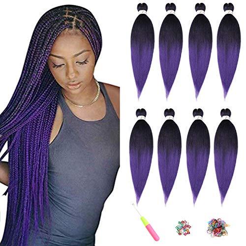 ShowJarlly Braid Pre Tressé Cheveux Yaki Braid Cheveux Professionnels Cheveux Synthétiques 8 Pcs (20inch(51CM), T1B#PURPLE)
