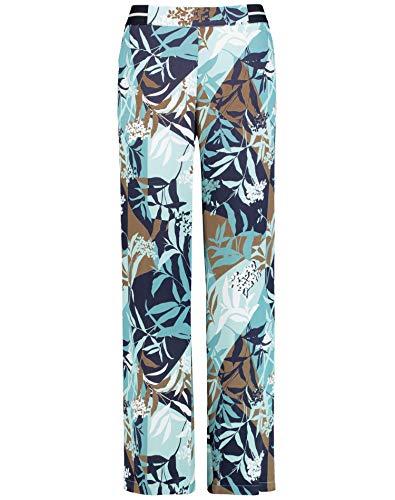 Gerry Weber Damen Hose mit floralem Muster leger Dark Navy Aqua Offwhite Druck 42