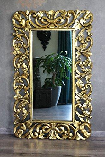 Naturesco Edler Wandspiegel Barockspiegel Siegel Barock Rokoko hndgefertigt Holzrahmen Gold antik 130cm x 80cm