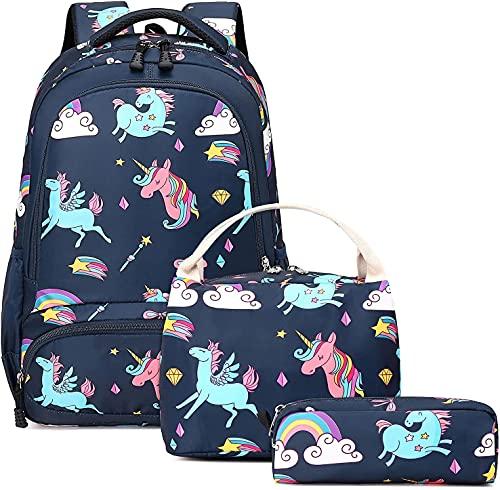 Mochila Unicornio Niños Impermeable Mochila Escolar para Adolescente Pequeñas Mochilas Infantil Bolso para Chicas para La Escuela,Viajes,Intemperie Juego de 3 (Deep Blue)