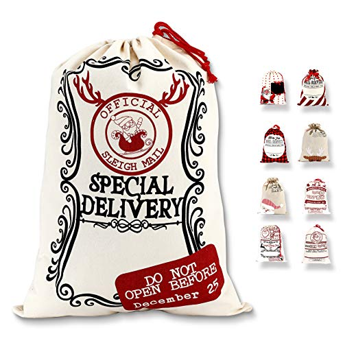 LessMo Christmas Santa Sack, Large Christmas Canvas Gift Bag with Drawstring, [Place to Write Wishes] XL Reusable Personalized Best Gift, for Xmas Package Storage, Christmas Party Supplies Favors