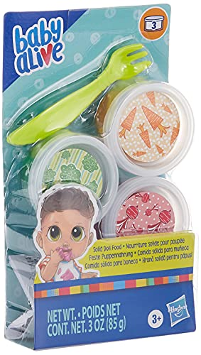 Baby Alive Solid Doll Food Refill, Includes 3 Doll Foods, 1 Fork, Toy Accessories for Children Aged 3 Years and Up