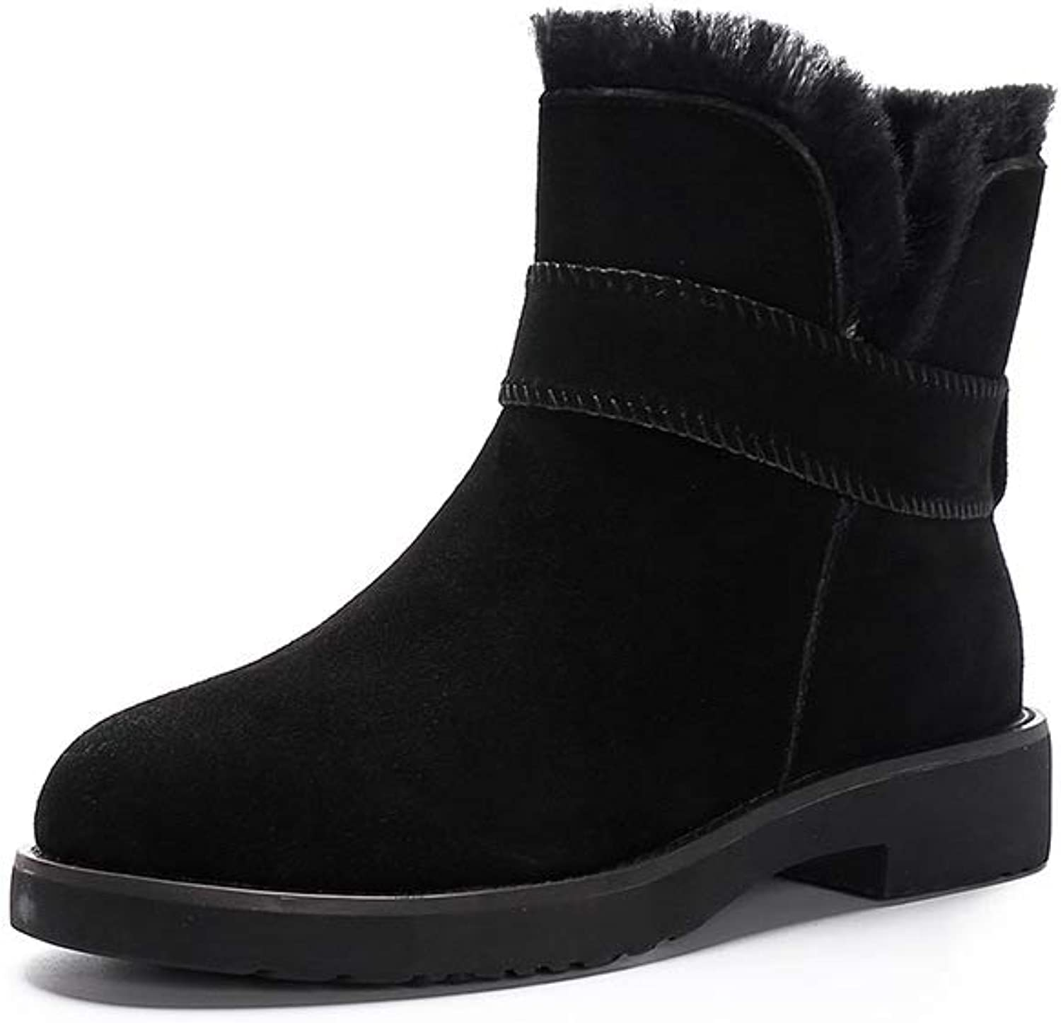 PP Fashion Winter Snow Boots,Genuine Leather Warm Ankle Boots,Fur Lining,Waterproof Perfect Neutral shoes for Women