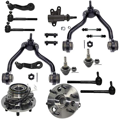 Detroit Axle - 4WD 17pc Front Suspension Kit and Wheel Bearings - Upper Control Arms, Tie Rods, 45.79mm Ball Joints for STAMPED Steel Lower Control Arms