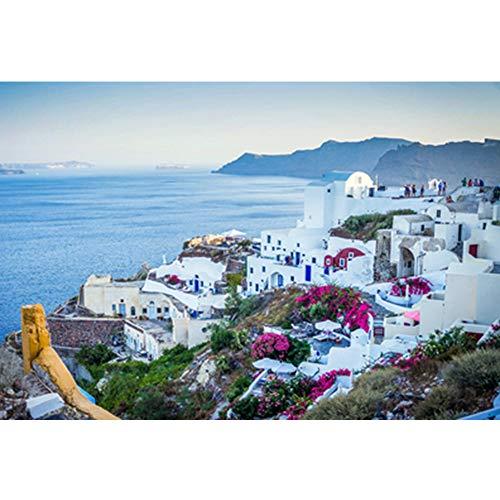 Simple World Famous Scenery Puzzle 1000 Stuks, Griekenland Egeïsche Zee Houten legpuzzels voor kinderen volwassenen,E,1000PCS