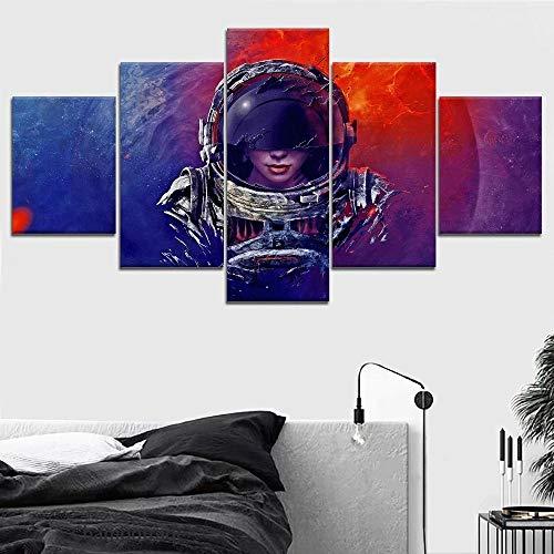 WANGZUO Impresiones En Lienzo HD Arte De La Pared Carteles Lienzos Pinturas 5 Panel Astronautas Chica Planeta Espacio Exterior Moderno SalóN DecoracióN para El Hogar Cuadros Modulares/100x55CM