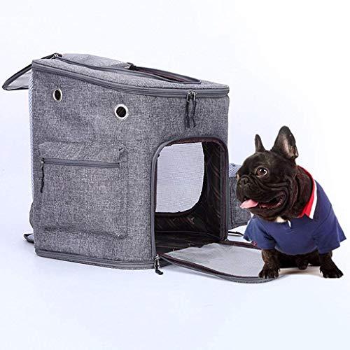 Huisdier rugzak met netstof voor kleine honden katten puppy rugzak voor katten comfort vliegtuig tas toegestaan voor wandelen, reizen kamperen buitenshuis, voor huisdieren tot 13 kg, grijs