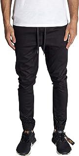 KDNK Men's Jogger Fit Stretch Twill Elastic Waist and Leg Drop Crotch Pants (40, Black)