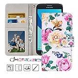 Galaxy J7 Prime Wallet Case,MagicSky J7 Perx,J7 Sky Pro,J7 V (SM-J727) Halo Case Floral PU Leather Flip Folio Case Cover with Wrist Strap,Card Holder,Kickstand for Samsung Galaxy J7 2017,Flower