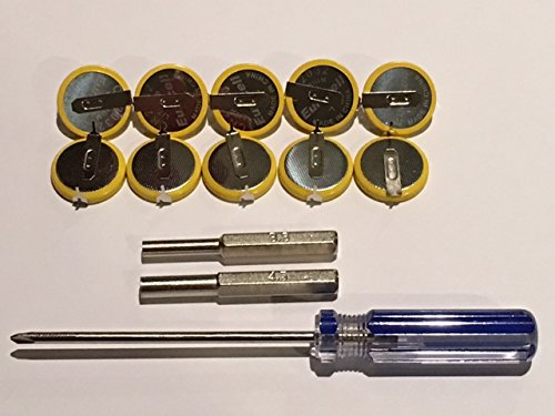 TBGS - 10 Pack CR2032 Batteries with Tabs, 3.8mm, 4.5mm and Triwing Tri-Wing Y Screwdriver Set - Replacement 3v Lithium...