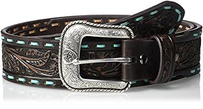 Ariat Men's Taper Tiquoise Buck Western Belt, Brown, 32