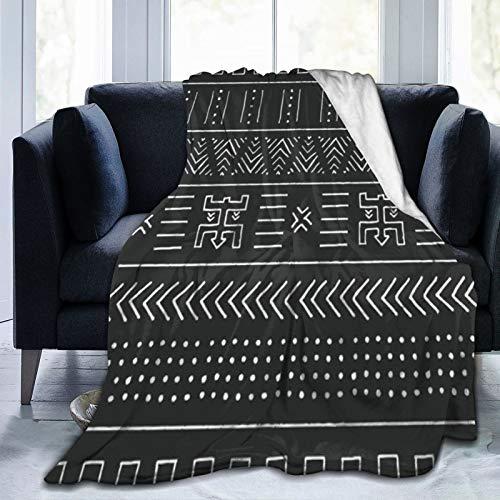 QIUTIANXIU Mantas para Sofás de Franela 150x200cm Diseño Tribal Blanco del Este Negro de Perú con el patrón geométrico Libre Peruano Abstracto Africano Mexicano Manta para Cama Extra Suave