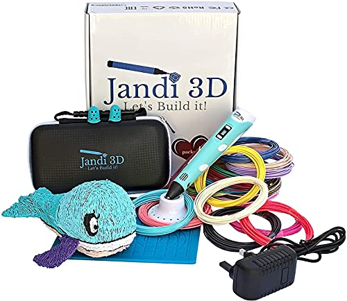 Jandi 3D pen, this 3D printing pen is reliable, ergonomic, with 328ft of PLA filament, mat and...