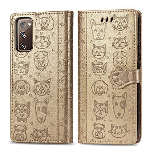 Miagon PU Leder Brieftasche Hülle für Samsung Galaxy S20 FE,Katze Hund Tier Prägung Design Flip Tasche Standfunktion Cover mit Karten Slot Magnetverschluss Lanyard,Gold