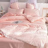 Funda nórdica y 2 Fundas de Almohada,Lavar la seda Suministros de cama de cuatro piezas El color sólido es la colcha de la manga Dormitorio Princess Feng Regalo-Volar_2.0 cama cuatro piezas