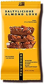 TRUWOMEN Plant Fueled Protein Bars, Saltylicious Almond Love (12 Count)   Non-GMO, Vegan, Gluten Free, Kosher, Soy Free, Dairy Free, Healthy Snack Bar, Natural Ingredients   12g Protein