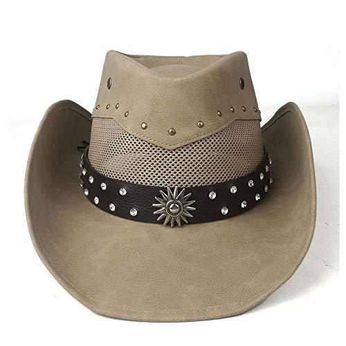 Xuguiping 100% leer mannen vrouwen mesh western cowboy hoed brede rand Outdoor zombrero hombre cowgirl hoed zonnehoed 58-59cm kaki