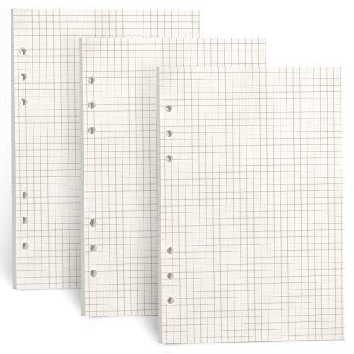 FYY 3 confezioni di carta A5,carta di ricarica A5 135 fogli (270 pagine)per quaderno con 6 raccoglitori ad anelli,ricariche per Filofax A5,appunti,diario,diario dei proiettili (Griglia di punti)