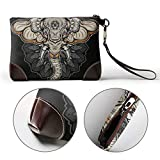 UAHYA Traditional Elephant Head Tattoo Leather Hand Bag 3D HD Printed,Makeup Bag Handbag Purse Wristlet Wallet Clutch Phone Purse Money Pouch Wristlet Clutch Bag for Women
