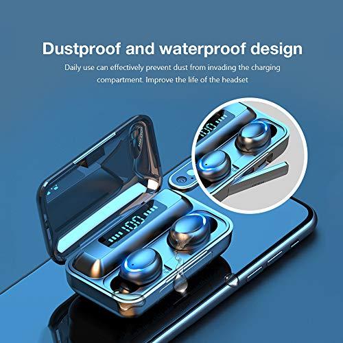 Auriculares Inalámbricos, Auriculares Bluetooth 5.0 IPX7 Impermeable, con Mini Caja de Carga y Micrófono, HI-FI Estéreo, Control Tactil cancelación de Ruido, In-Ear Auriculares para Correr Deporte miniatura