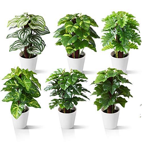 Kazeila Mini Plantas Artificiales de Interior en macetas, Planta de plástico Falso de 24 cm para decoración de casa / Oficina / Escritorio (6 Pack)