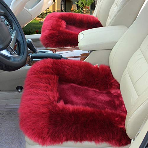 Winter New Plush Car Seat Warm and Heating Monolithic Pure Wool Car Seat.Sheepskin Seat Covers,Furry Seat Covers for Car,Office Butt Pad, Sofa Cushion (Color Name : Wine Red)