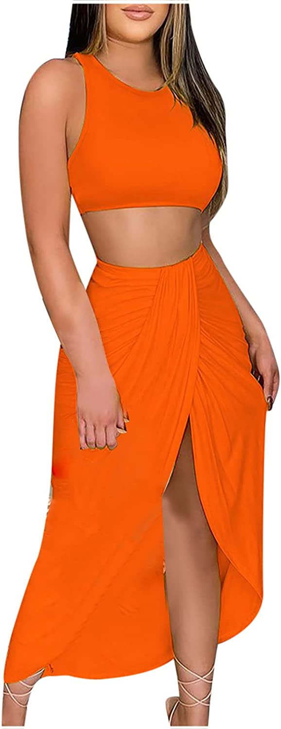 2 Piece Outfits for Women,Summer Solid Sleeveless Strapless Pullover Crop Tops and Split Pleated Skirt Set Beach Suit