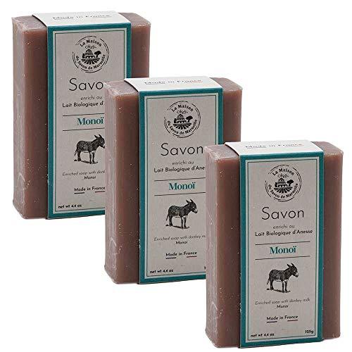 Maison du Savon de Marseille - French Soap made with Fresh Organic Donkey Milk - Monoi Fragrance - 3 x 125 Gram Bars