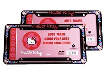 A Set of 2 Plastic Glitter Automotive License Plate Frame - Sanrio Love Hello Kitty Hearts